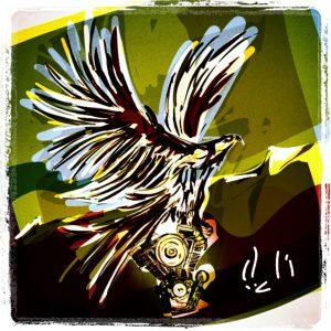 Adler mit Motor